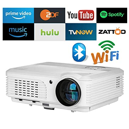 EUG WXGA Smart HD LED LCD Wireless WiFi Projectors with Zoom Bluetooth Outdoor Movie Home Theater TV Gaming Basement Projector 4400 Lumen Android ...