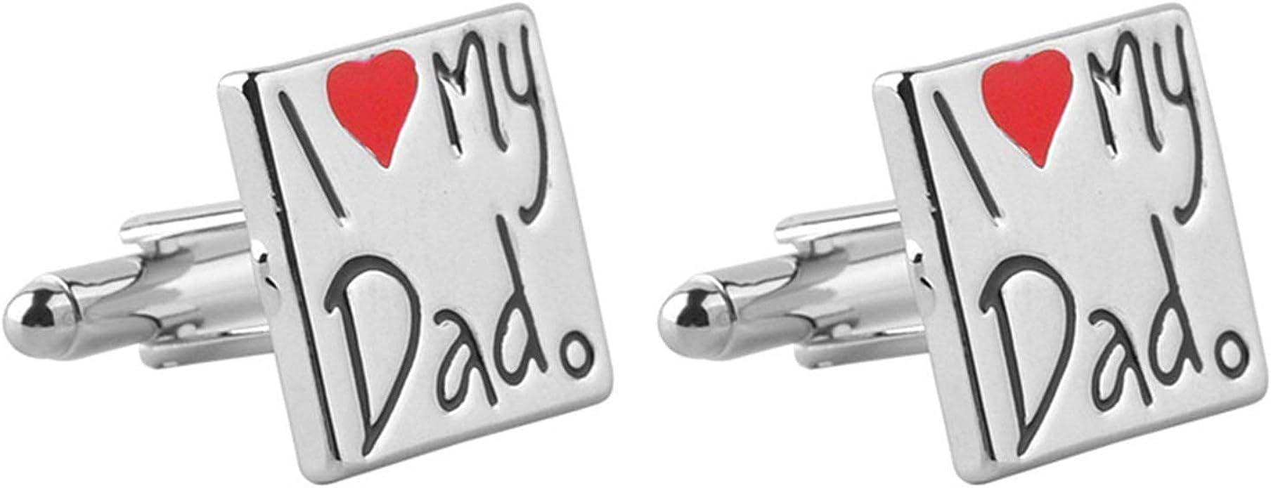 AmDxD Gemelos Chapados Oro para Hombres Plata Letras I Love My Dad con Corazón Gemelos Camisa Gemelos Boda Hombre 1.8x1.8CM: Amazon.es: Joyería