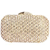 Digabi Fashion Luxury Rhinestone Purses Europe New Style women Crystal Evening Clutch Bags (One Size : 6.9 IN (L) x 4.3 IN (H) x 1.96 IN (W), White Crystal - Gold Plated)