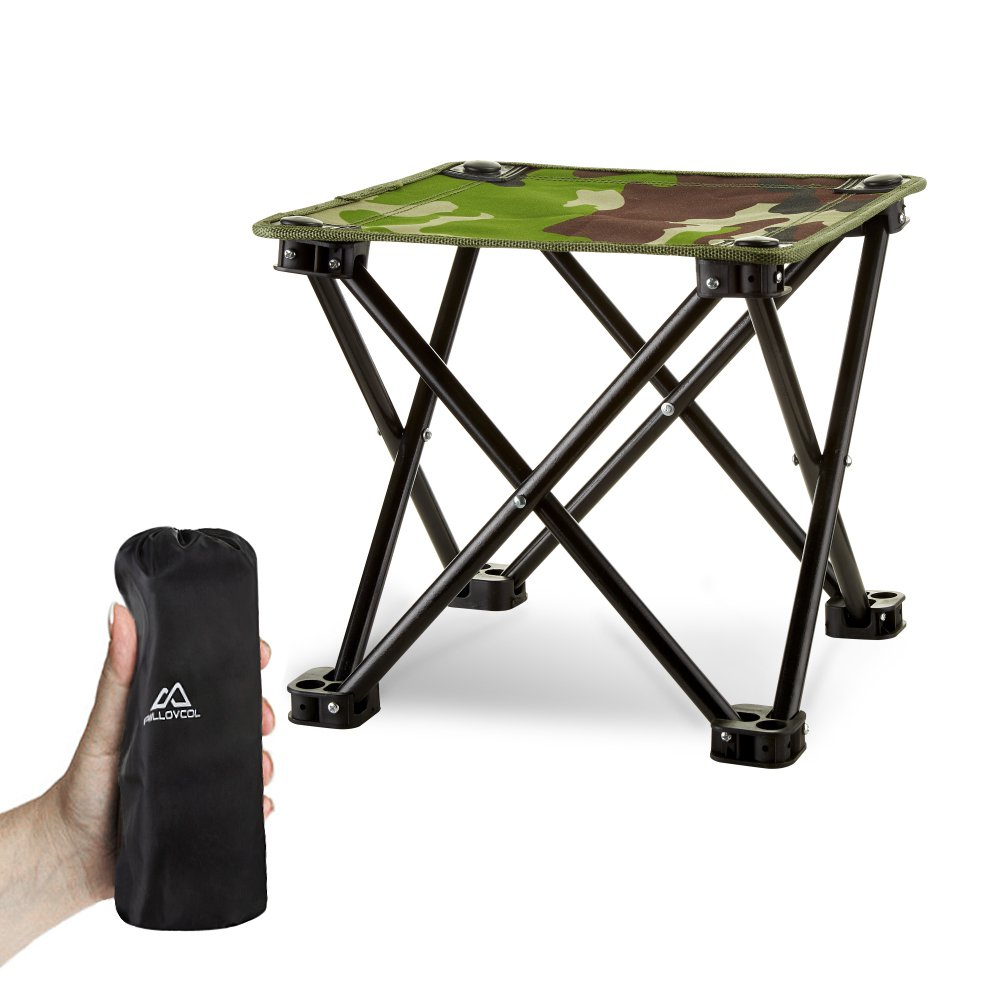 Folding Camping Stool, Mini Folding Stool Portable, Mini Portable Chair for Beach, Picnic Party, Camping, Barbecue, Fishing, Hiking, 600D Oxford Cloth with Portable Bag,12''x12''x11.5''(Green Camouflage)
