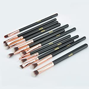 MSQ 12pcs Eye Makeup Brushes Rose Gold Eye Makeup Brushes Set with Soft Natural Hairs & Real Wood Handle for Eyeshadow, Eyebrow, Eyeliner, Blending - Rose Gold