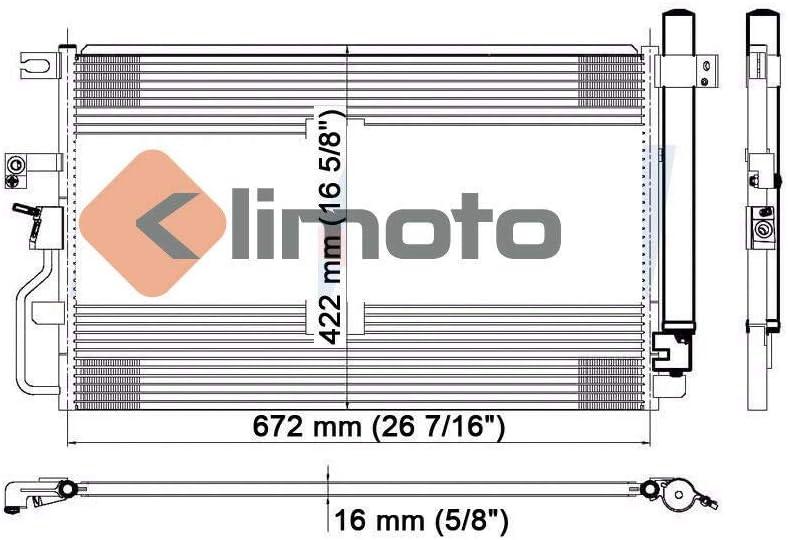 Klimoto Brand New Condenser fits Chevrolet Equinox Pontiac Torrent 2006 2007 2008 2009 3.4L V6 GM303274 15781440 15834081 P40491 DPI3468 7-3468 CND3468 Q3468