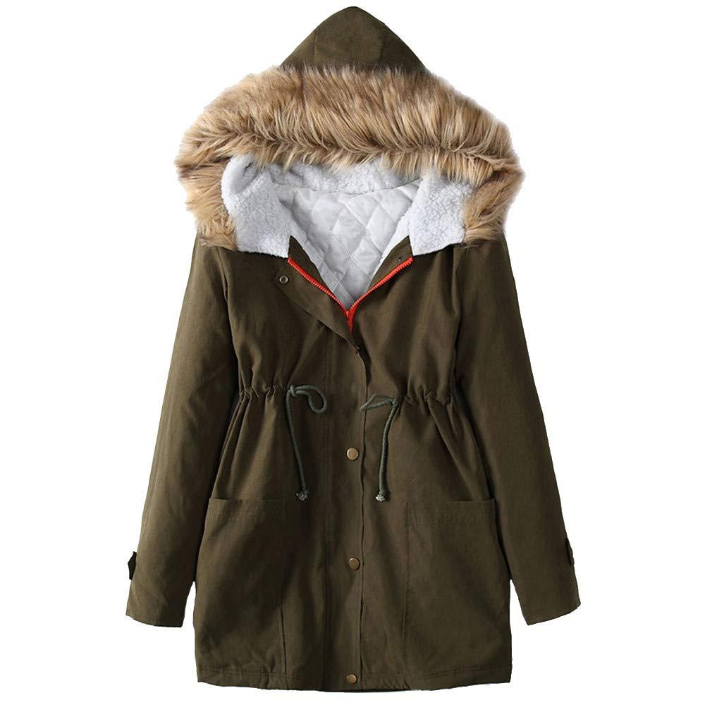 Women Winter Windproof Warm Fleece Long Sleeve Zipper Pocket Jacket Hooded Coat for Daily by Dacawin