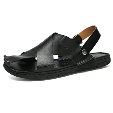 886e4474f7c9 MUMUWU Men s Genuine Leather Beach Sandals Non-slip Closed Toe Slippers  Switch Backless Sandals (