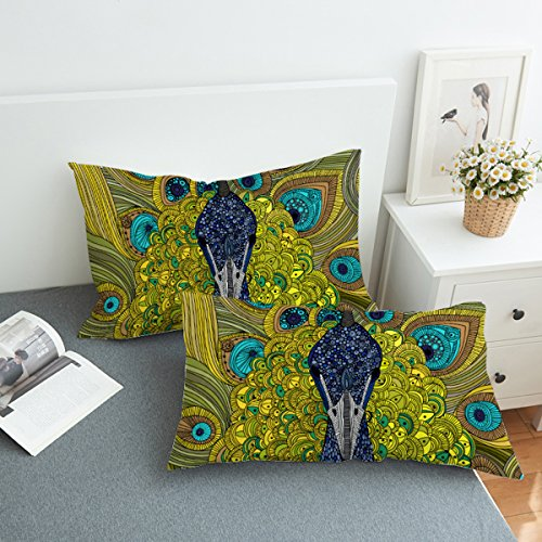 (Koongso Boho Mandala Peacock Pillow Cases 2 Pieces Floral Paisley Pattern Printed Pillowcases Indian Hippie Themed Square)