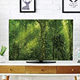 iPrint LCD TV Cover Multi Style,Plant,Tropical Tranquil Place with Lots of Green Trees Earthly Places Untouched Jungle,Apple Green,Customizable Design Compatible 60'' TV