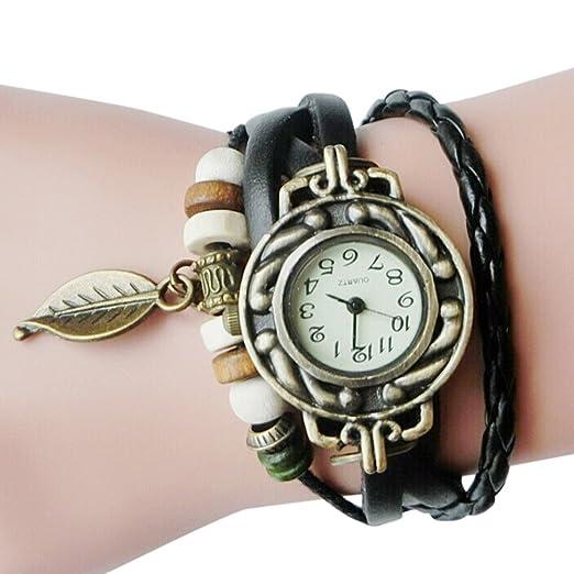 Watches Watch Women Bracelet Fashion New Casual Women Children Retro Leatherwinding Bracelet Leaf Pendant Watch