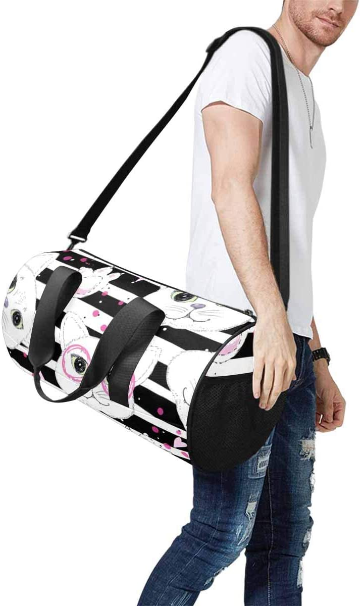 Sports Lightweight Luggage Duffel INTERESTPRINT Valentines Day with Cute Cats Travel Duffle Bag