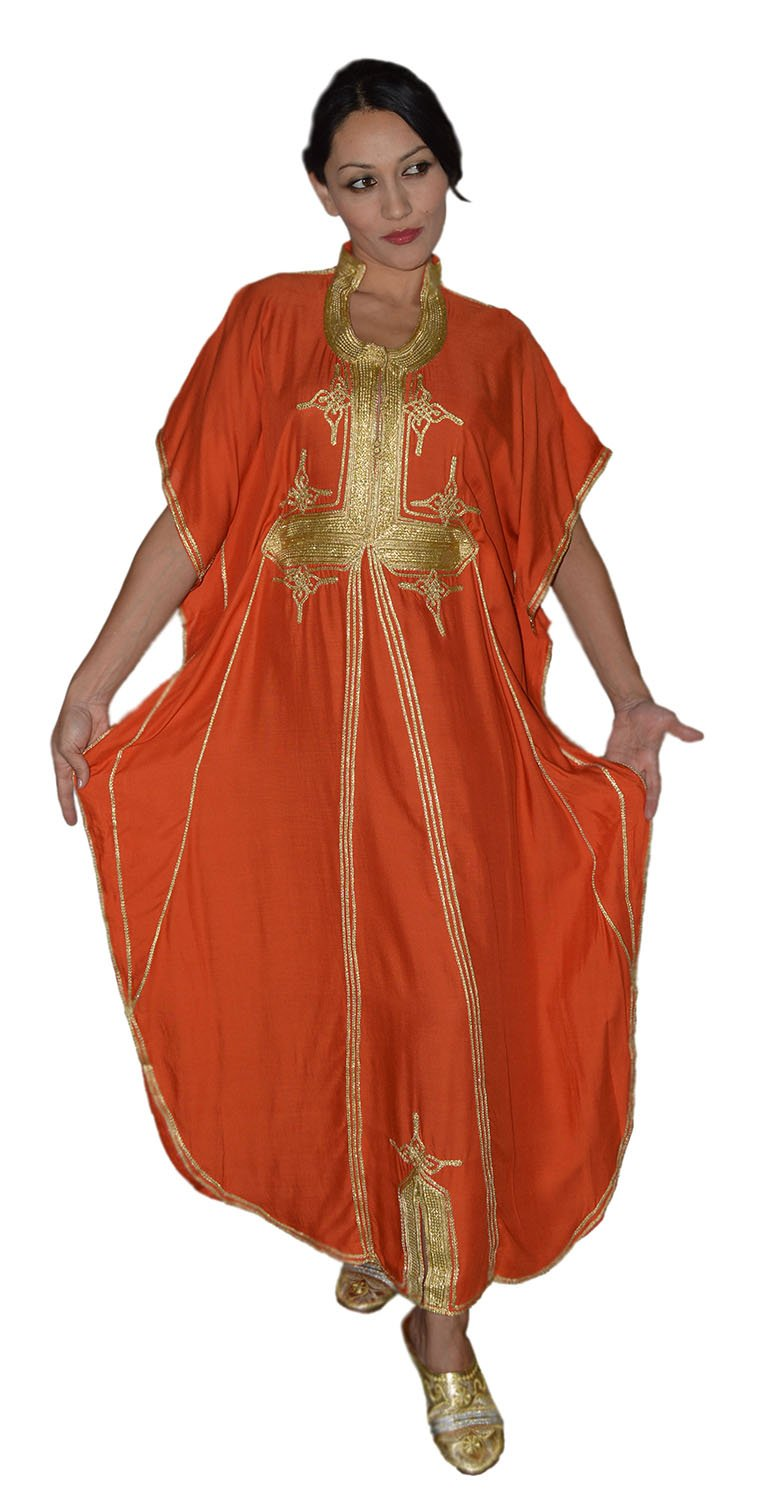 Moroccan Caftan Hand Made Breathable Cotton with Gold Hand Embroidery Long Orange by Moroccan Caftans (Image #3)