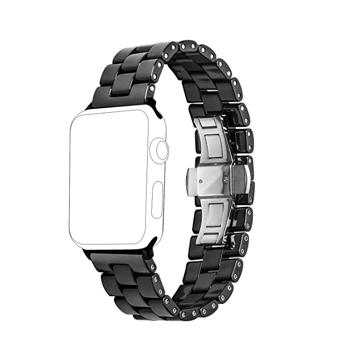 Ceramic Band Strap Fashionable Smartwatch Wristband Bracelet Compatible with 44mm Apple Watch Series 4, 42mm Apple Watch Series 3/2/1 (Black,Style 2)