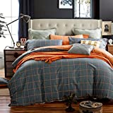 CASA Gingham Duvet cover set 100% cotton Bedding Reversible Duvet cover and flat sheet and pillowcases,4PC,queen