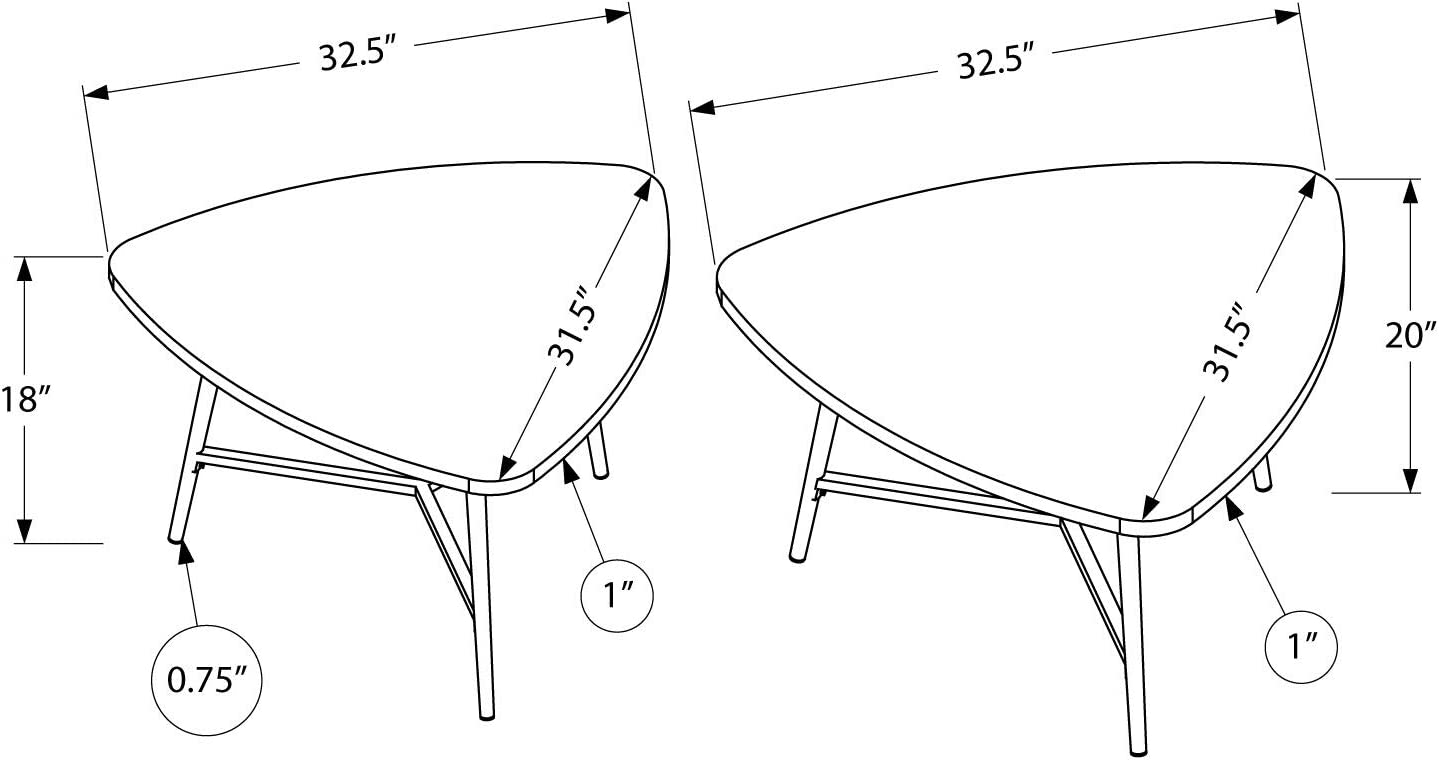 Golden Pine Monarch Specialties I 7941P Nesting Coffee Table Set of 2 Cocktail Tables for Living Room Triangle Shape Metal Legs Nesting Tables 32.5 W x 31.5 L x 18 H