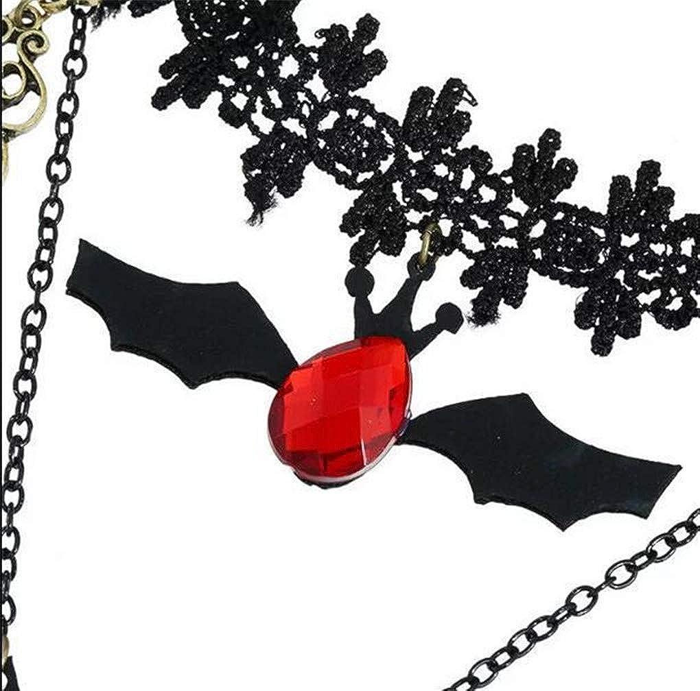 Countonme Women Halloween Elegant Vintage Princess Black Lace Gothic Necklace Bracelet Victorian Lolita Choker Pendant Vampire Chain