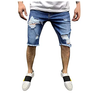 Pantalones Hombre Vaqueros Corta Hombre Pitillo Rotos Slim Fit Moda para Hombre Pantalón Denim Pantalones Chandal Holatee