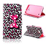 Lumia 640 Case Nokia Lumia 640 Kickstand Case,Tribe-Tiger Minnie Mickey Series Premium Leather[Card Slot][Flip][Stand][Wallet]Cover Case for Nokia Lumia 640(Leopard Bowknot)