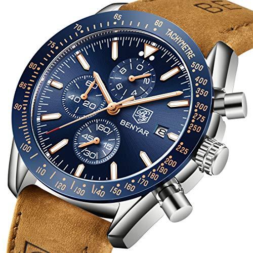 - BENYAR Men's Watch Luxury Business Casual Fashion Classic Comfortable Waterproof Chronograph Quartz Men's Watch (Brown Black)