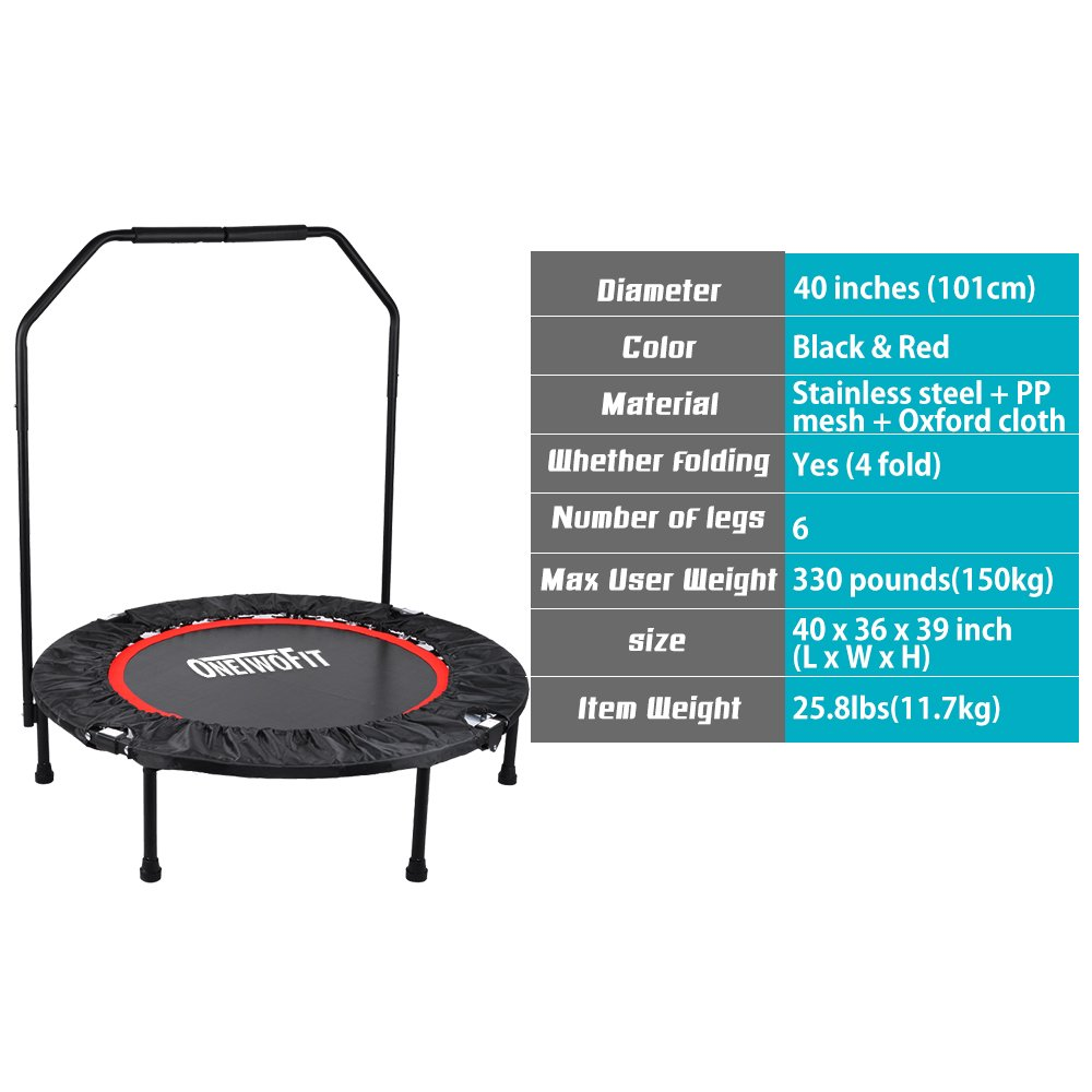 OneTwoFit 40'' Indoor Trampoline with Handrail,Foldable Fitness Trampoline for Adults,Rebounder Trampoline Exercise Trampoline for Indoor/Garden/Workout Cardio OT017 by ONETWOFIT (Image #3)
