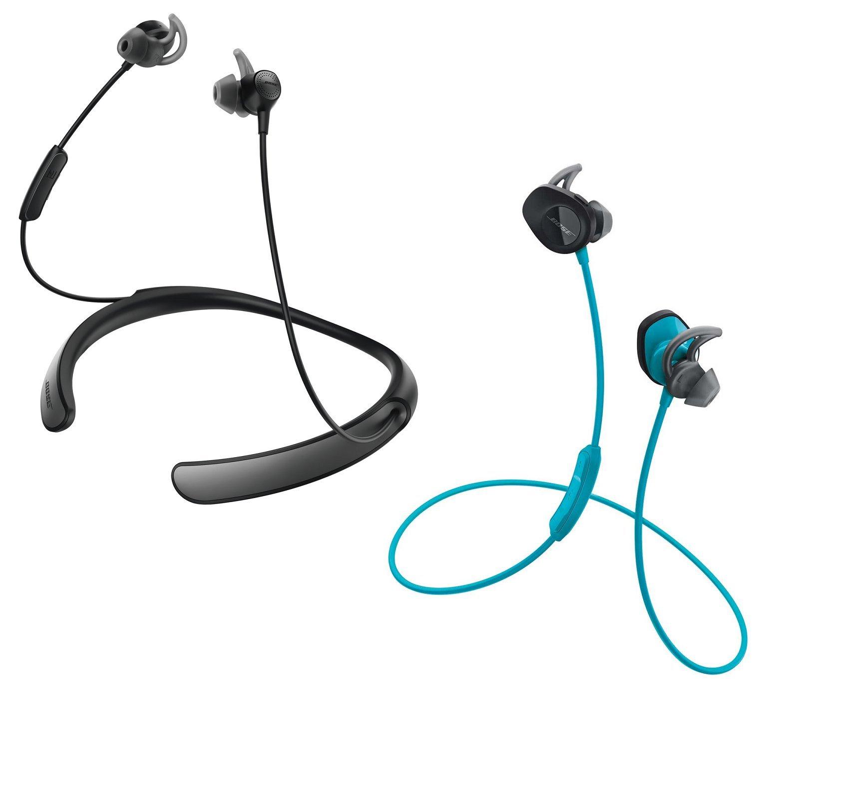 Bose Bluetooth Headphone Bundle - SoundSport Wireless Aqua & QuietControl 30 Black In-ear Headphones