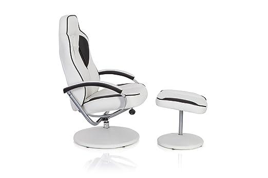 hjh OFFICE Gamer Pro WH 110 Silla reposapiés/de relajación Piel sintética, Blanco/Negro: Amazon.es: Hogar