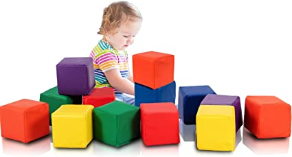 Kids Baby Wood Like Soft Blocks Toy Toddler Building Play Learn 80 Pc Gift New