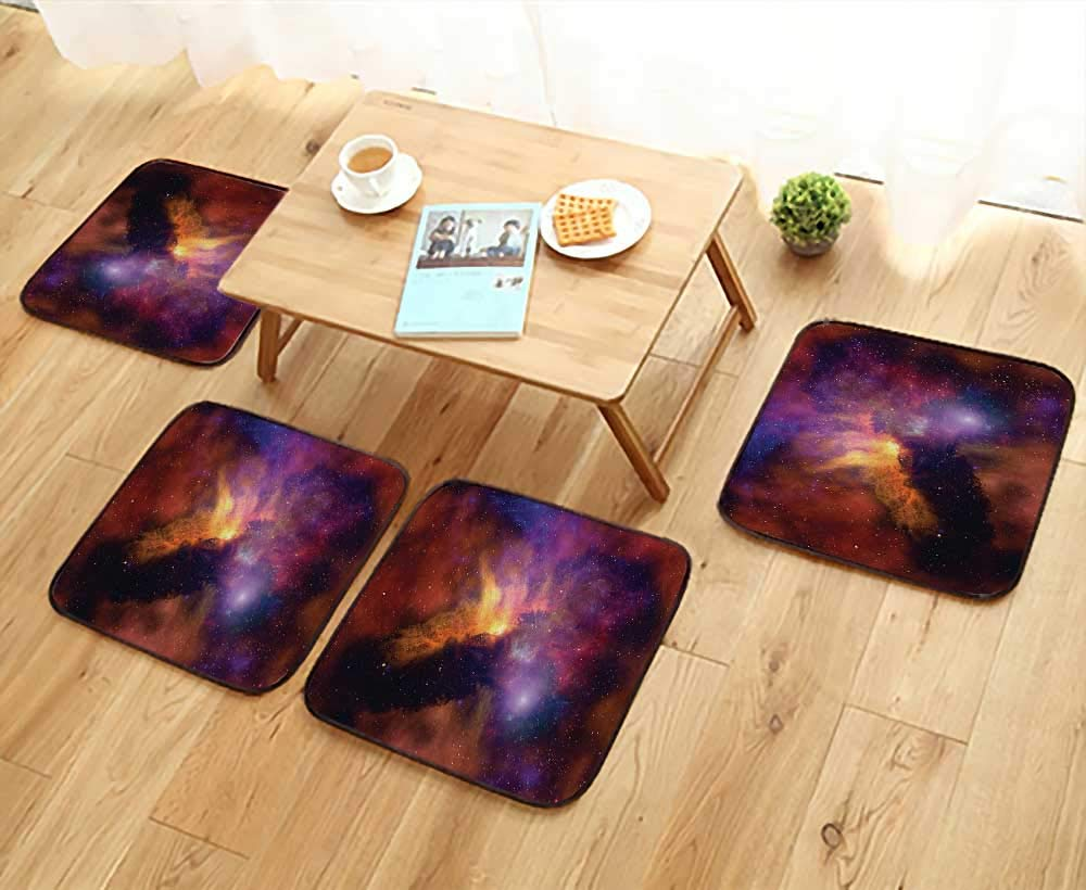 Printsonne Elastic Cushions Chairs Space Stars and Nebula Gas and Dust Cloud Celestial Solar Galacy System for Living Rooms W29.5 x L29.5/4PCS Set