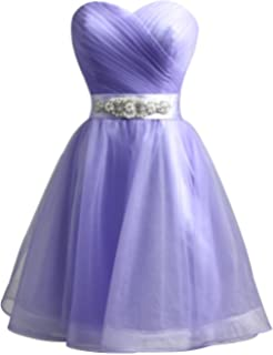 Clearbridal Womens Purple Tulle Short Bridesmaid Dress Sweetheart Party Coacktail Prom Gown with Crystal Sash SD309