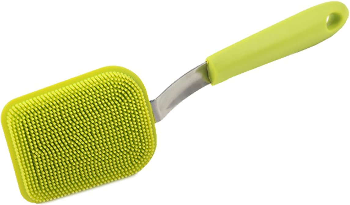 JJMG New Multipurpose Antibacterial Silicone Scrub Scrubber Sponge for Dishwashing, Make up Brush Cleaner (Sponge with Handle)