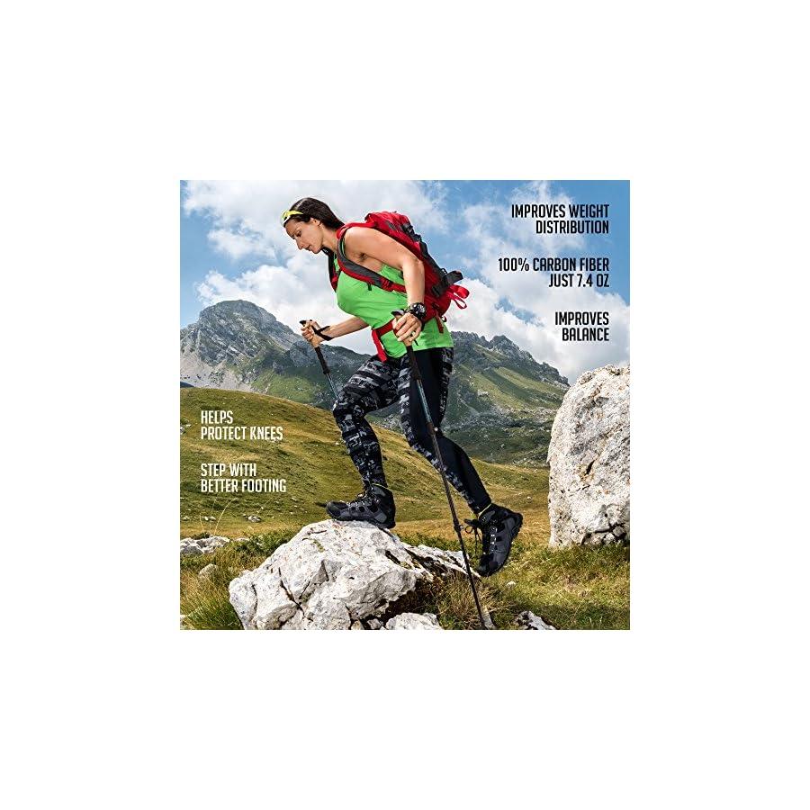 Alpine Summit 100% Carbon Fiber Trekking Poles w/Cork Grips Collapsible Hiking/Walking Sticks