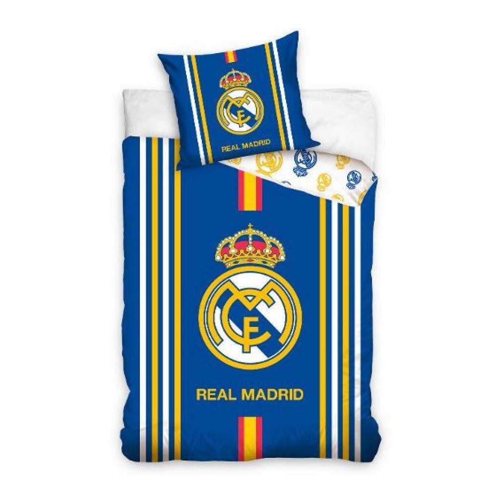Real Madrid (RM16_1001) Juego Funda NÓRDICA Reversible 160 X 200 CM (para Cama de 90 X 200 cm) Y Funda COJÍN 70 X 80 CM (RM16_1001)