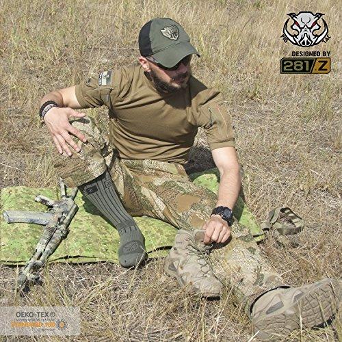 Calzini Militari A Metà Polpaccio - Trekking Tattico - Sport Outdoor Atletico - Linea Di Combattimento Punisher Di 281z (fogliame Verde) Kaki, Verde Fogliame, Grigio Oliva, Verde Militare