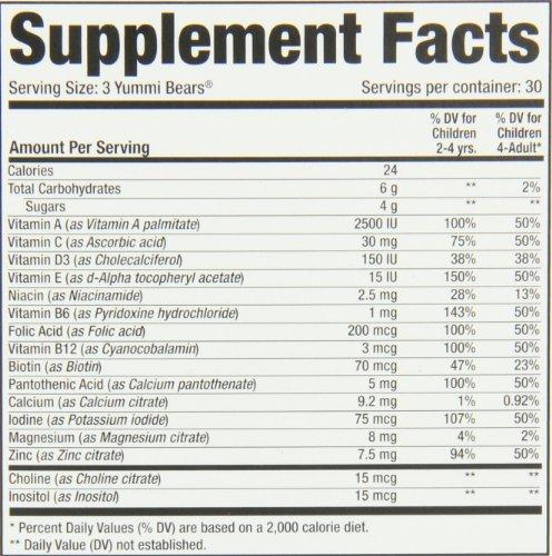 Yummi Bears Multi-vitaminas y minerales, 90-Count Gummy Bears FlavorName: Fruto Tamaño: 90: Amazon.es: Bebé