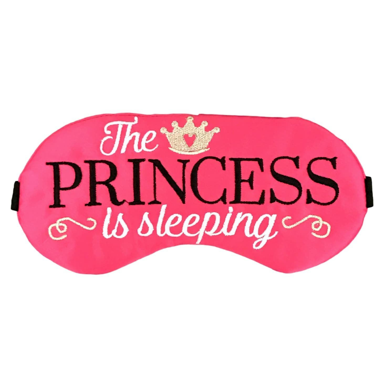 The Princess is Sleeping Satin Sleep Mask in Hot Pink with Black and Silver