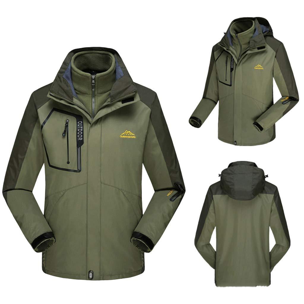 Yanbeng Mens 3 in 1 wasserdichte Jacke, verschweißte Nähte, abnehmbare Innen Fleece Beste für Winterwandern im Freien Schnee Ski Reisen