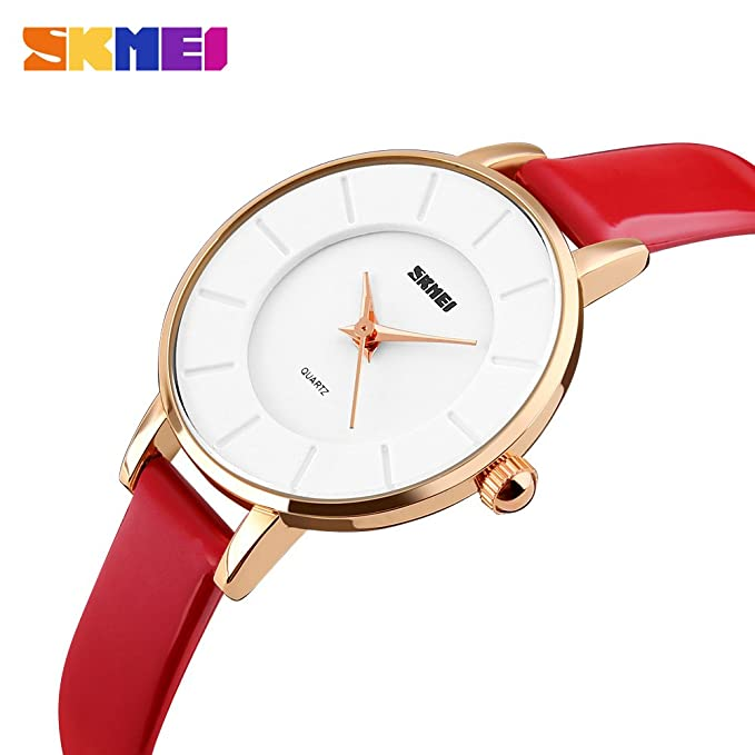 Amazon.com: SKMEI 1178 Fashion Casual Women Quartz Watches Leather Strap Luxury Brand Ladies Watches Gold case 30M Water Resistant Reloj Mujer (Red): ...