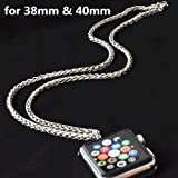 Stainless Steel Chain Necklace Smartwatch Band 38mm Series 3 2 1 / 40mm Series 4 New Newest Polished Silver Metal Wheat Chain Strap Rope Neckband Replacement Accessories Wearable Technology Women Men