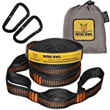 Wise Owl Outfitters Talon Hammock Straps - Combined 20 Ft Long, 38 Loops W/ 2 Carabiners - Easily Adjustable, Tree Friendly Must Have Gear For Camping Hammocks Like Eno Orange Stitching