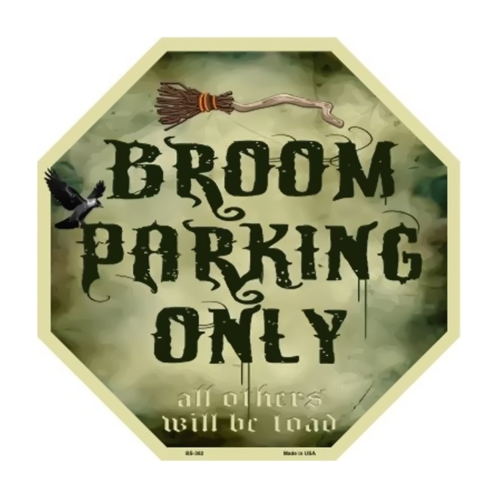 Witch Broom Parking Decorative metal sign