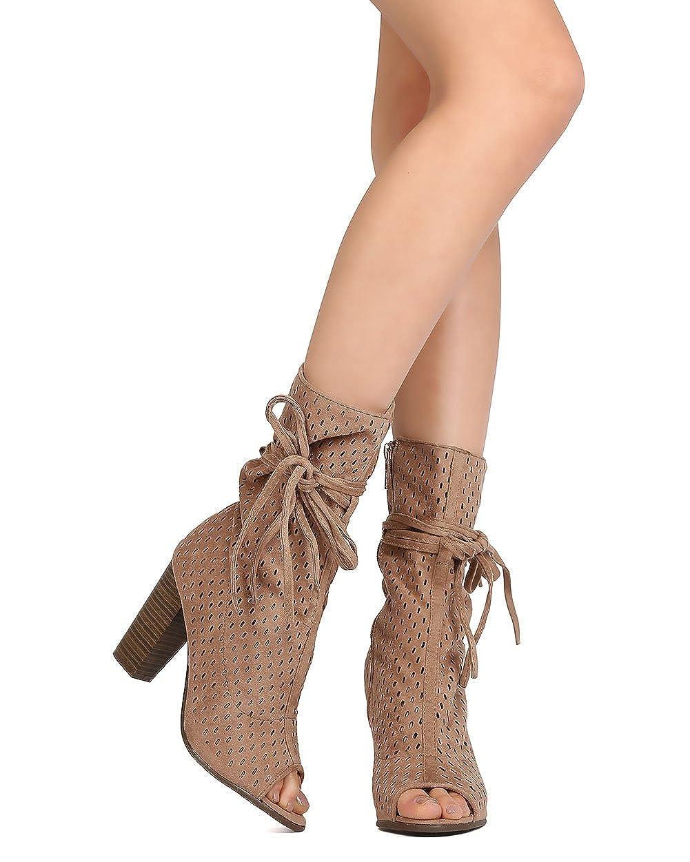 Women Faux Suede Mid-Calf Peep Toe Perforated Block Heel Boot GA75