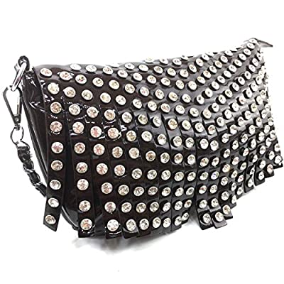 Justin West Shiny Bling Rhinestone Fringe Glossy Mini Chain Messenger Cross Body Handbag Purse