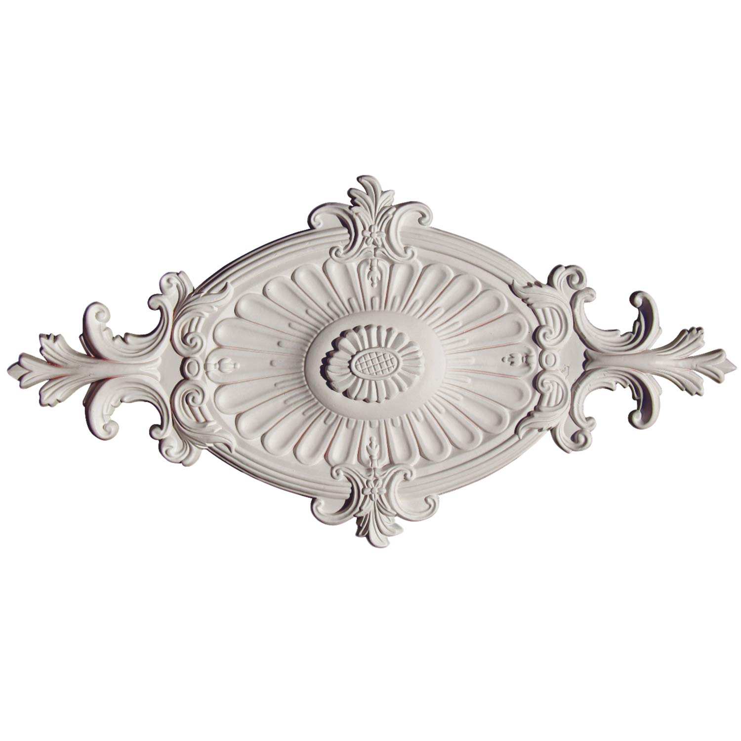 "PU Moulding24 Inch Victorian Polyurethane Ceiling Medallion for Wall Ceiling Decor 24""L x 12 2/5""W x 1 3/5"" P"