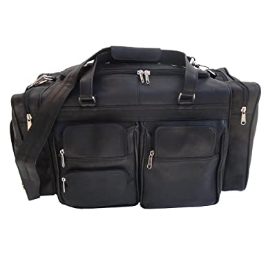 Piel Leather 20In Duffel Bag With Pockets Black One Size