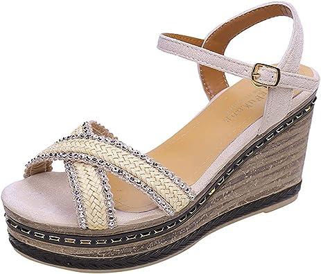 Femmes Été Plage Sandales Strass Chaussures Compensées à Talon Haut Plateforme Chaussures US5-8