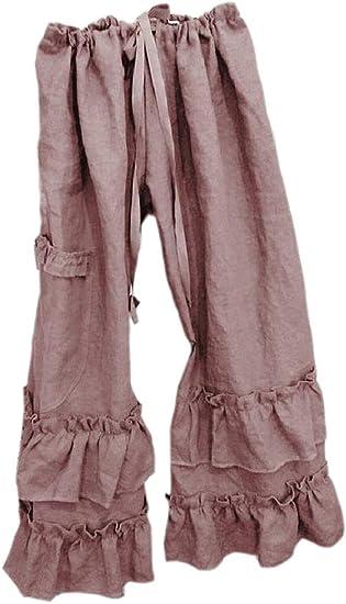 Fly Year-JP レディース ラッフル ハイ ウエスト ルーズ ロング ワイド レッグ パンツ ソリッドカラー パンツ