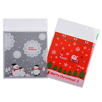 Amazon.com: shxstore Navidad Bolsas de celofán para Cookie ...