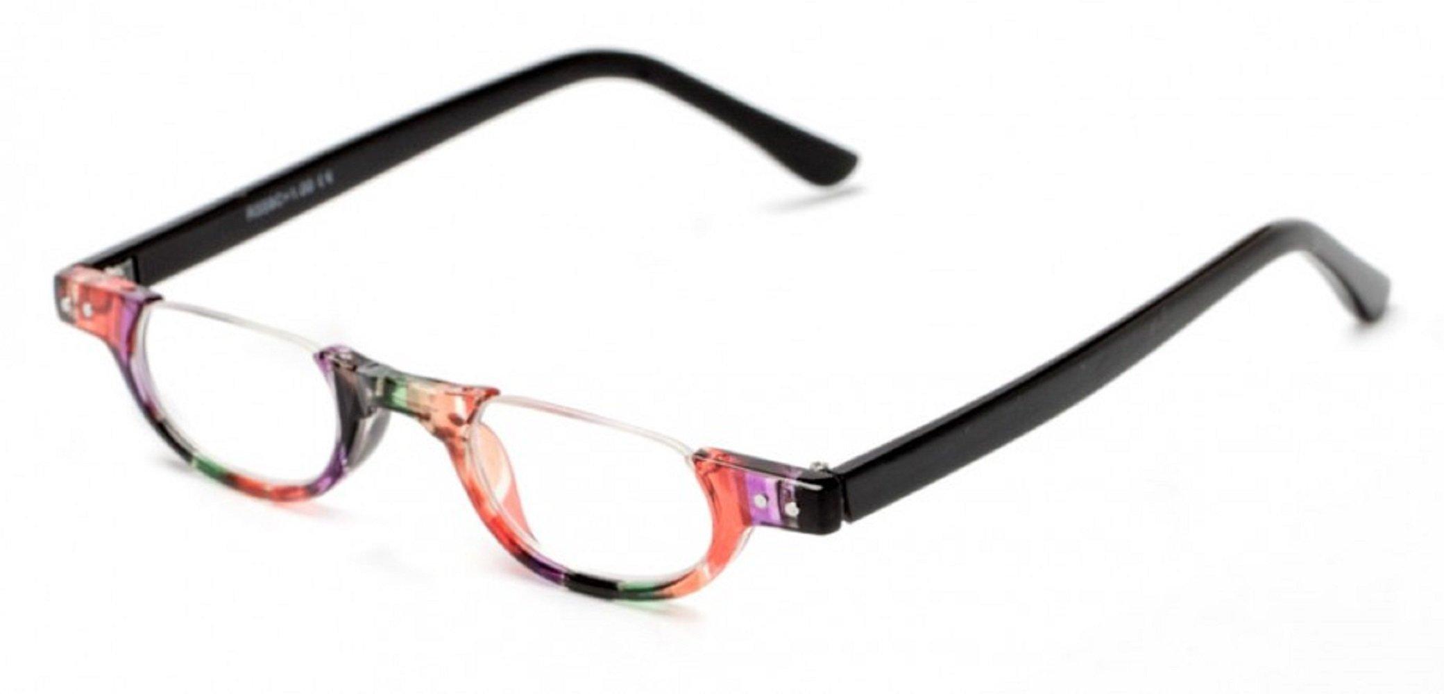 9a5d8b7699c2 The Hunter Colorful Retro Half Under Frame Rimless Round Vintage Reading  Glasses +2.00 Orange Green