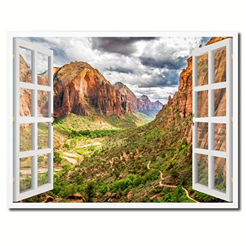 Landscape Zion National Park Picture French Window Art Framed Print on Canvas Office Wall Home Decor Collection Gift Ideas, 7