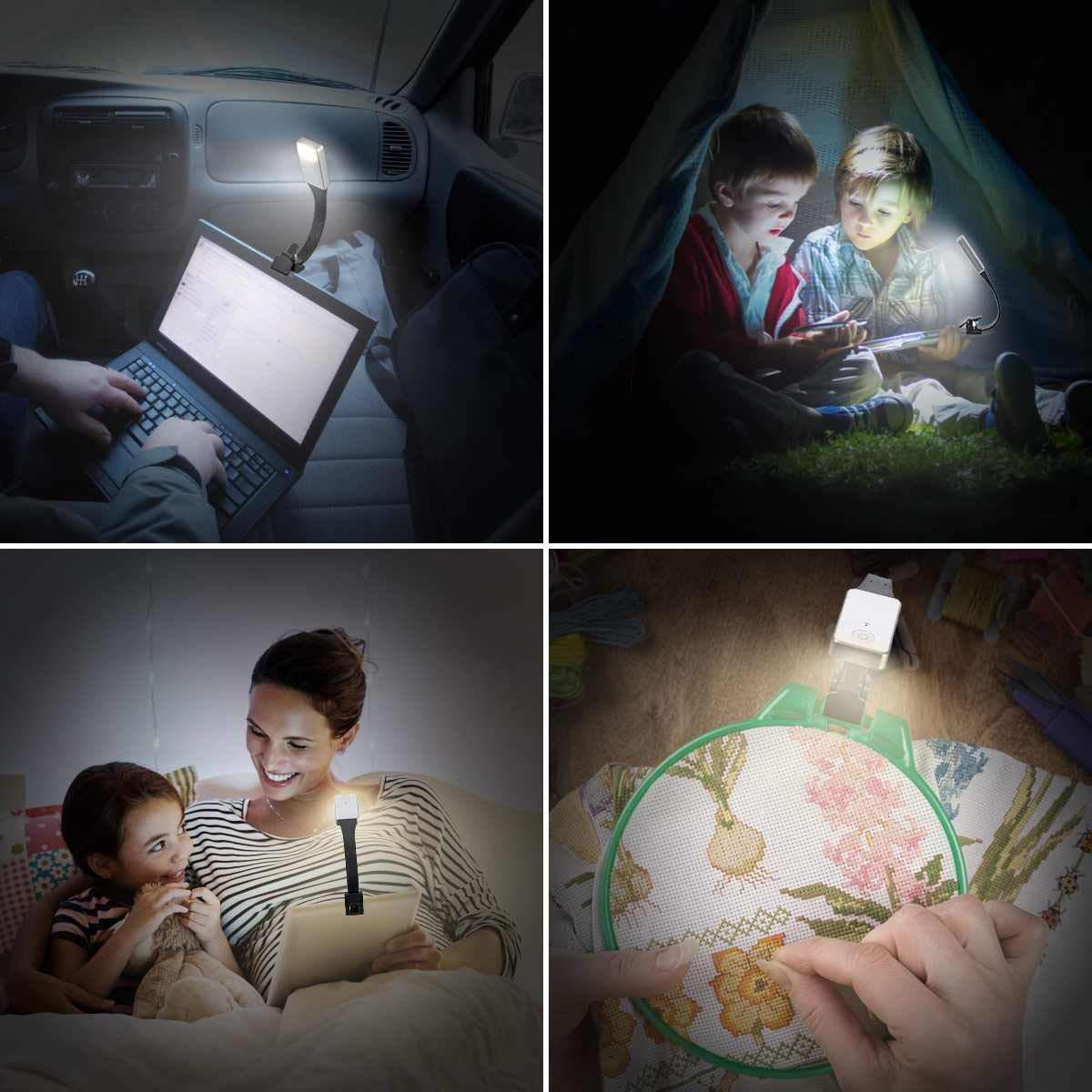 TOOGOO E-Book Recargable Luz LED para Papel Nueva L/áMpara de Lectura USB Clip de L/áMpara de Luz de Libro para el Dormitorio de Viaje Lector 3Model