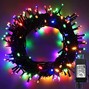 Indoor/Outdoor LED Christmas Lights on Dark Green Cable with 8 Light Effects, Low Voltage Fairy String Lights, Ideal for Festival Decoration, Garden, Xmas Tree, Room, Party, Wedding (300LEDs, Mixed)