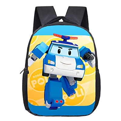 Mzshubao Kids Robocar Poli Backpack-Boys School Bookbag School Backpack-Super Wings Backpacks for Outdoor, Travel | Kids' Backpacks