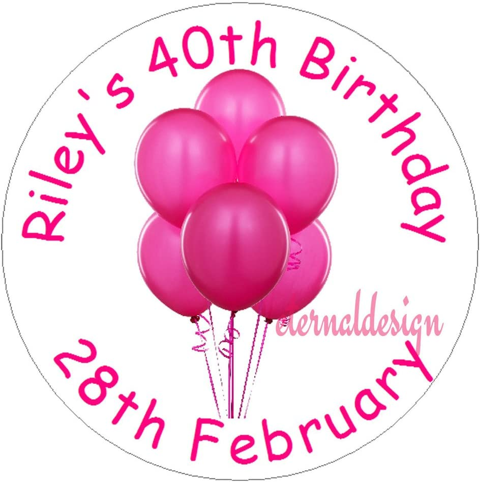 Eternal Design 35 x 37mm Personalised Glossy Birthday Party White Stickers BDCS 4